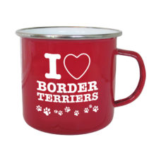 Enamel Border Terrier Mug in Red
